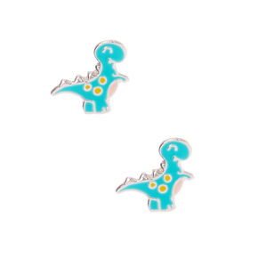 Clous d'oreilles dinosaures couleur argentée - Bleu,