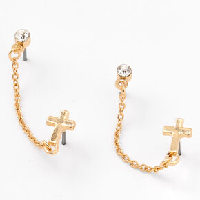 Gold Cross Crystal Connector Chain Stud Earrings,