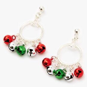 """Silver 1.5"""" Jingle Bell Drop Earrings,"""