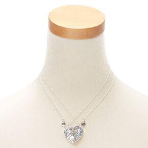 e4d66b455c1e5 Lot de 2 colliers best friends à pendentif licorne pailletée couleur argenté