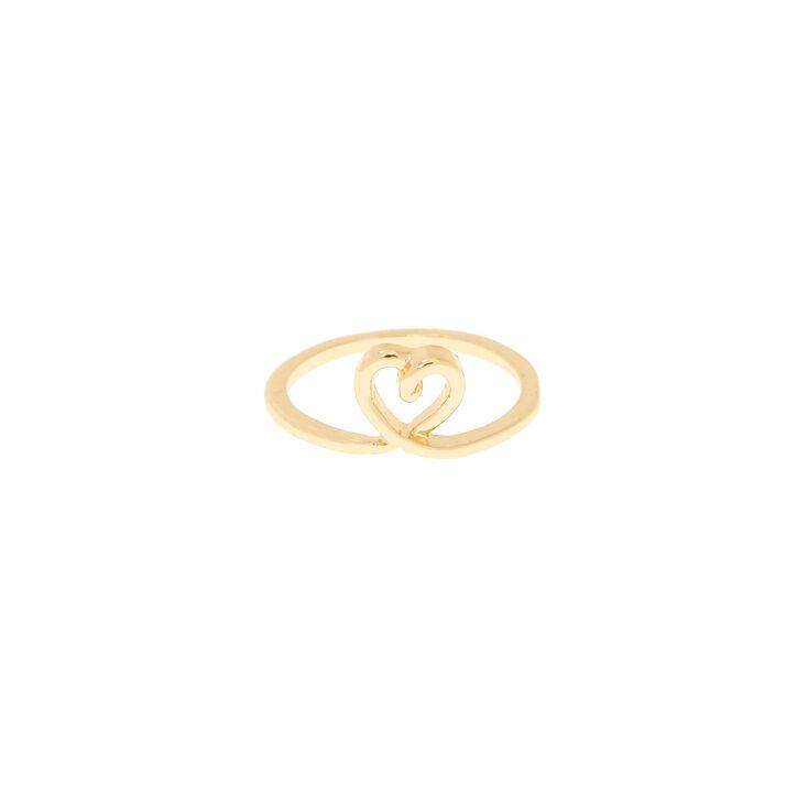 Bague de phalange cœurs couleur doré,