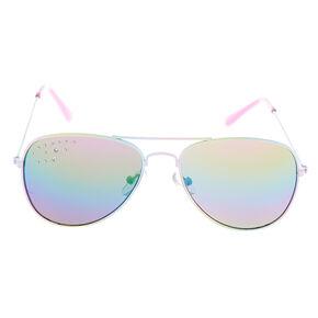 abbbe8883a Claire s Club Ombre Aviator Sunglasses - Rainbow