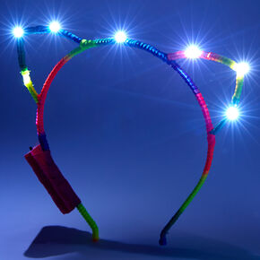 Light Up Rainbow Cat Ears Headband,