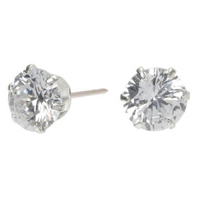 Sterling Silver Cubic Zirconia Round Stud Earrings - 8MM,