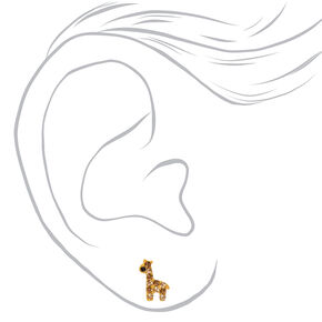 Sterling Silver Crystal Giraffe Stud Earrings - Brown,