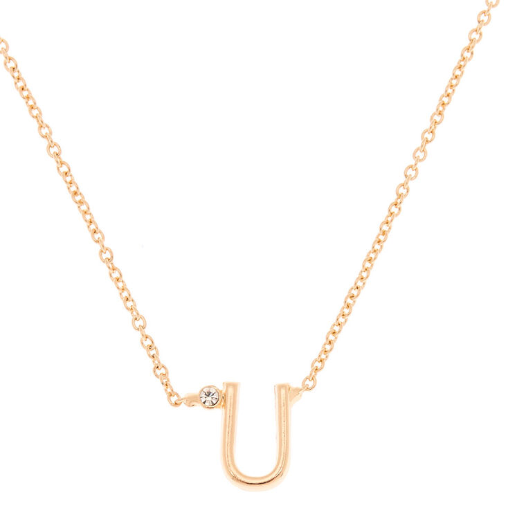 Gold Stone Initial Pendant Necklace - U,