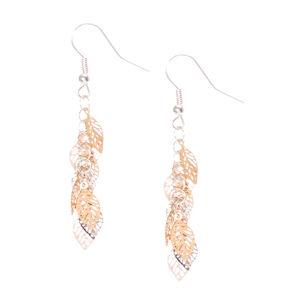 """Silver & Gold 2"""" Leaf Drop Earrings,"""