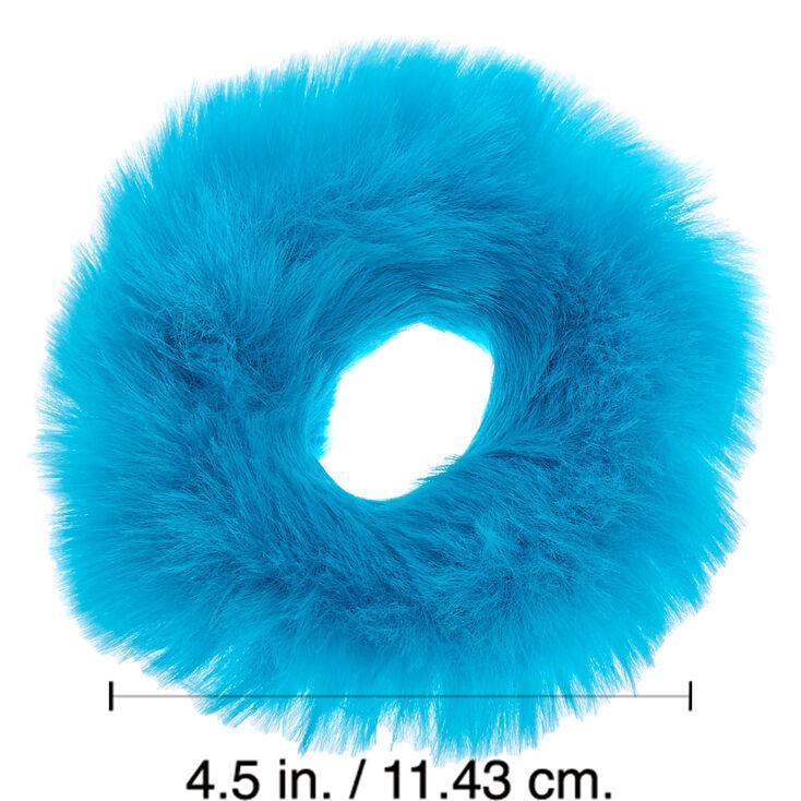 Medium Faux Fur Hair Scrunchie - Neon Blue,