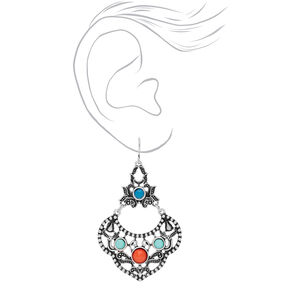 "Silver 2"" Blue & Red Burnished Stone Drop Earrings,"