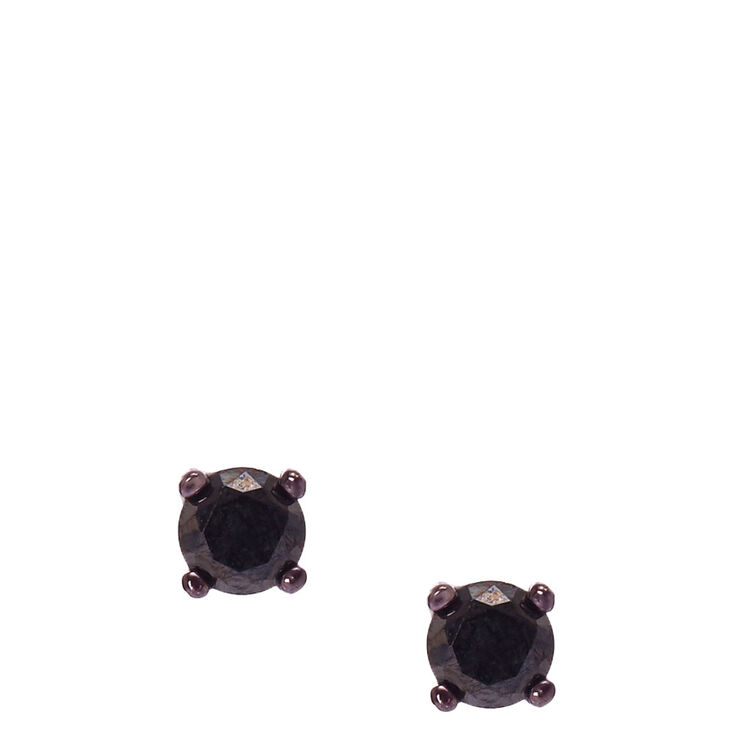 Sterling Silver 5mm Jet Black Cubic Zirconia Earrings