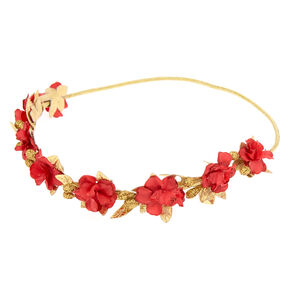 Go to Product: Gold Metallic Flower Crown Headwrap - Red from Claires