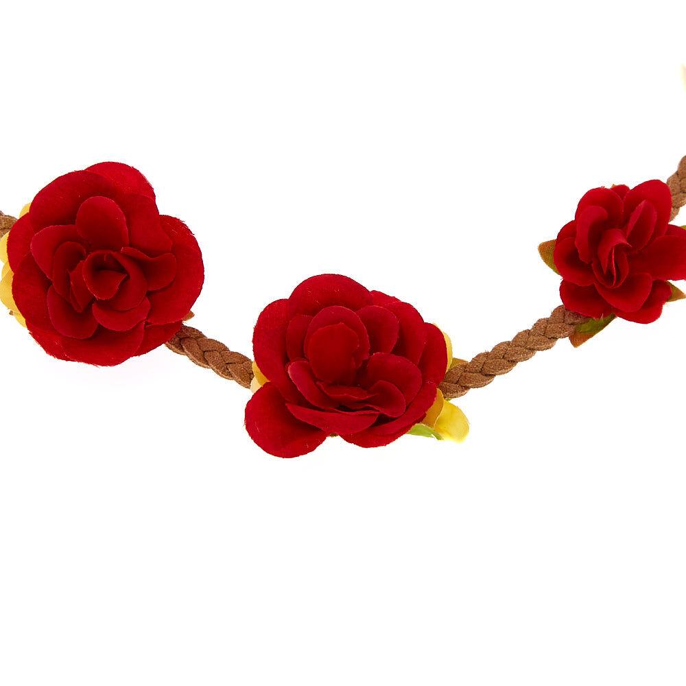 Couronne de fleurs tressée rouge