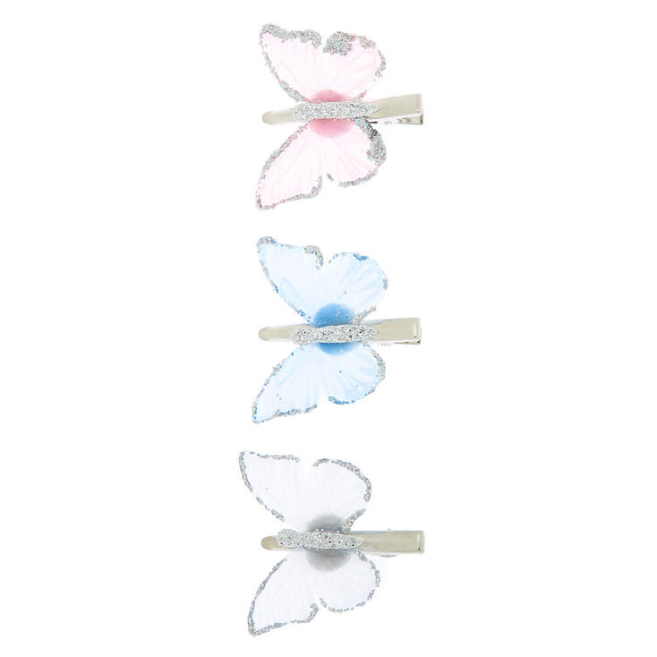 Iridescent Pastel Butterfly Hair Clips - 3 Pack,