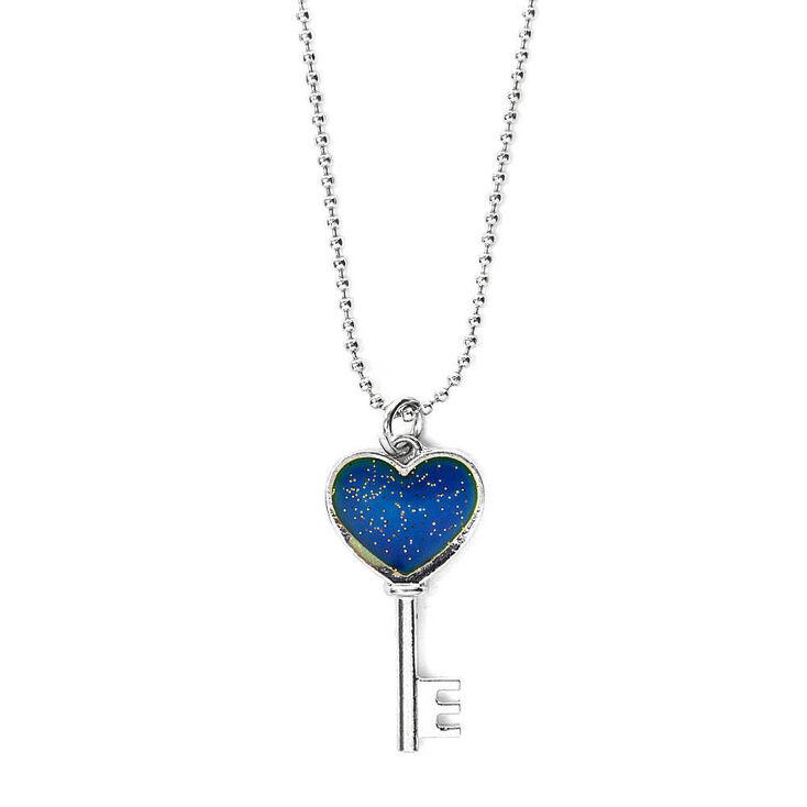 Mood Heart Key Pendant Necklace,