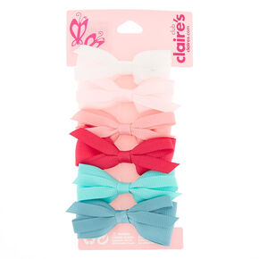 Claire's Club Preppy Hair Bow Clips - 6 Pack,