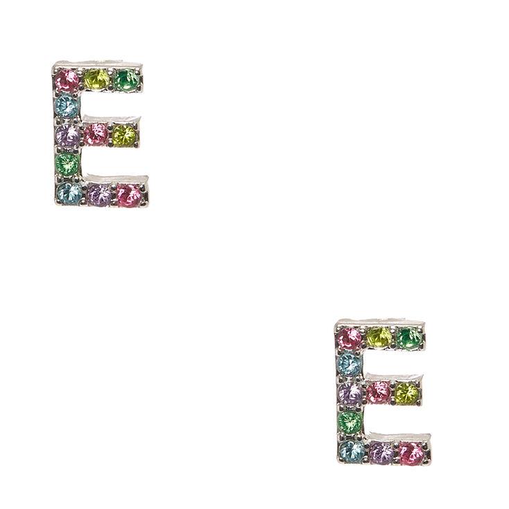 Pastel Gem Initial Letter E Silver Tone Stud Earrings