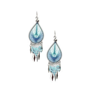 Turquoise Dreamcatcher Drop Earrings,