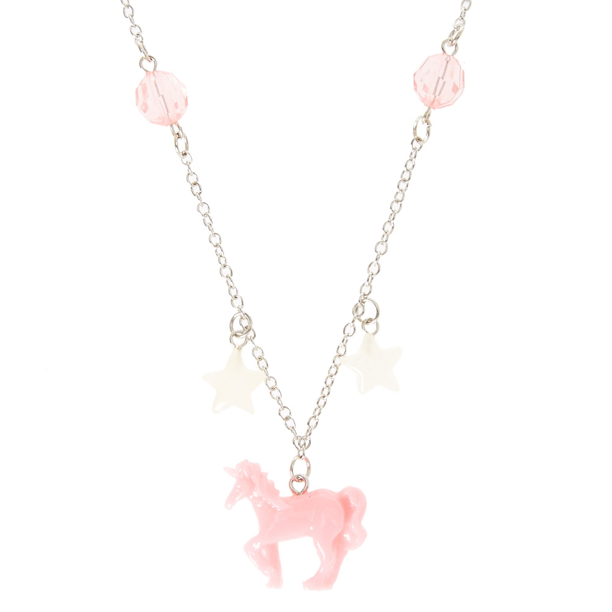 product necklace with tiny unicorn flower charm pendant