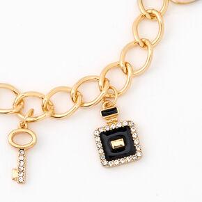 Bracelet breloque maillon de chaîne «I Love Paris» couleur dorée,