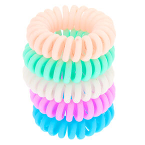Matte Pastel Mini Spiral Hair Bobbles - 5 Pack,