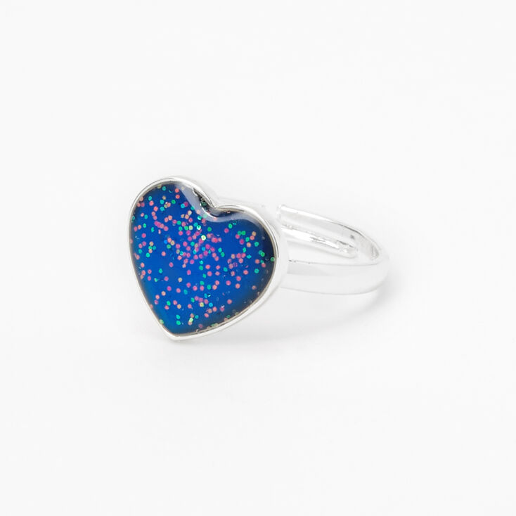 Silver Glitter Heart Mood Ring,