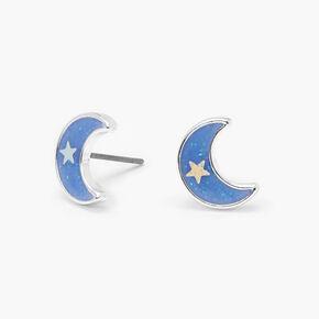Glow In the Dark Crescent Moon Stud Earrings - Blue,