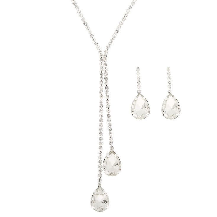 Silver Rhinestone Teardrop Jewelry Set - 2 Pack,
