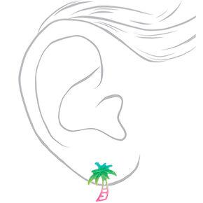 Silver Glitter Rainbow Palm Tree Stud Earrings,