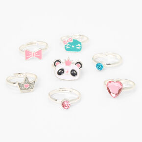 Claire's Club Mint Panda Rings - 7 Pack,