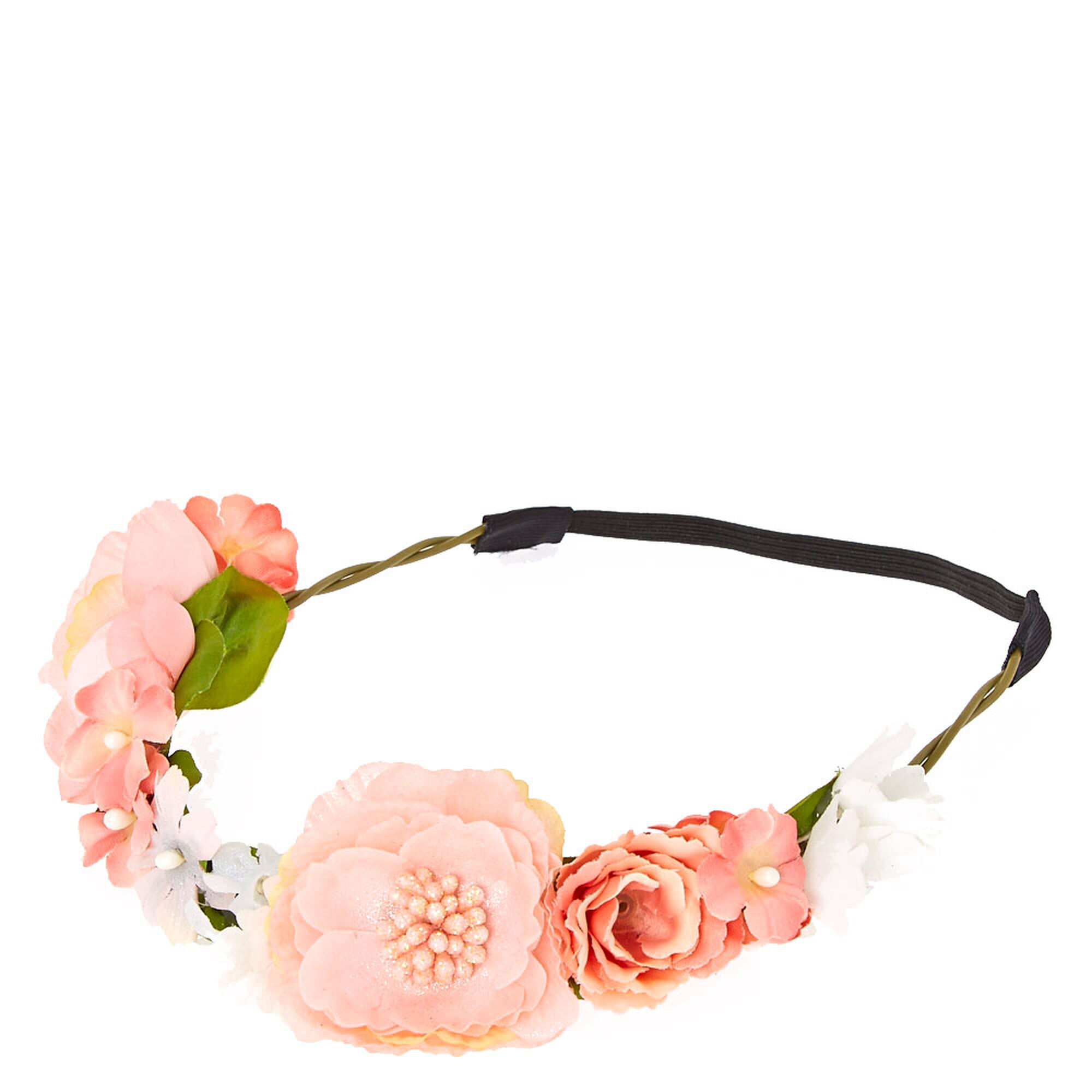 Shimmery pink flower hair garland claires shimmery pink flower hair garland mightylinksfo