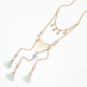 Gold Triangle Tassel Pendant Necklace - Mint,