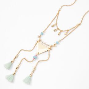 Collier à pendentif pompon triangulaire couleur dorée - Vert menthe,