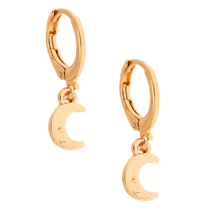 Gold 10MM Moon Huggie Hoop Earrings,
