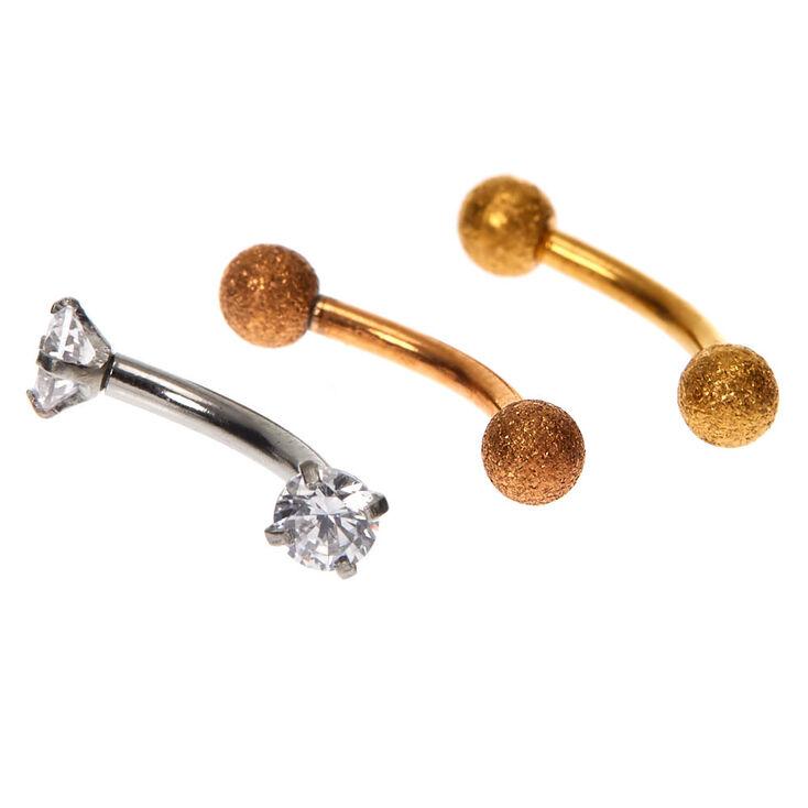 Boucles d'oreilles rook 16g en métaux mixtes - Lot de 3,