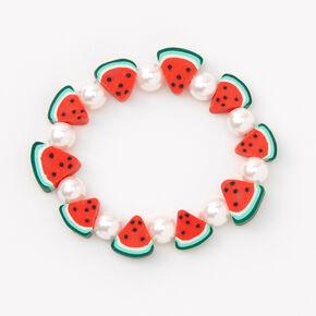 Bracelet élastique perlé tranches de pastèque,