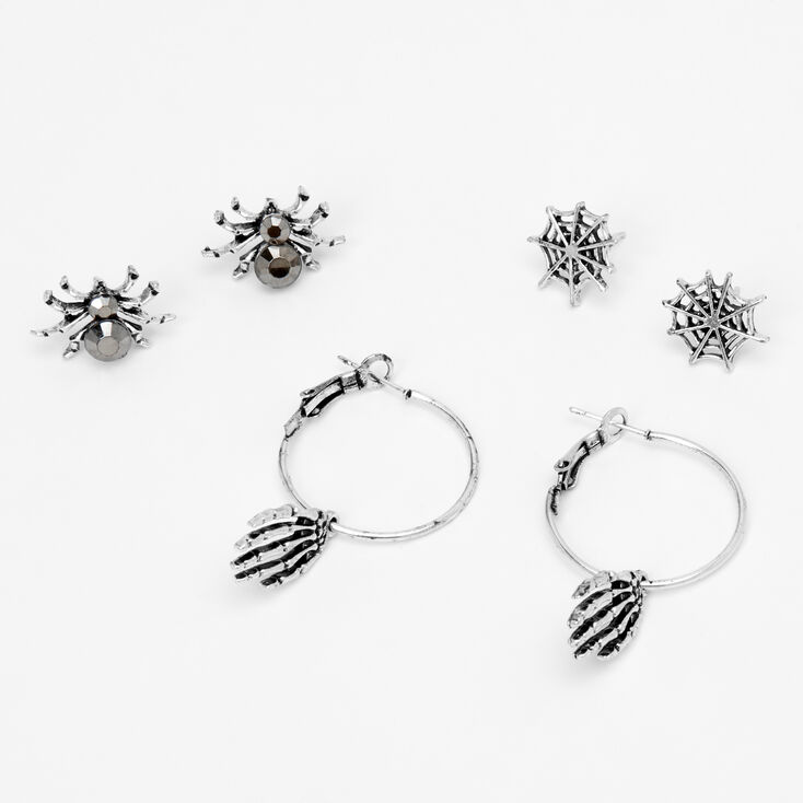 Silver Spider Web Skeleton Mixed Earrings - 3 Pack,