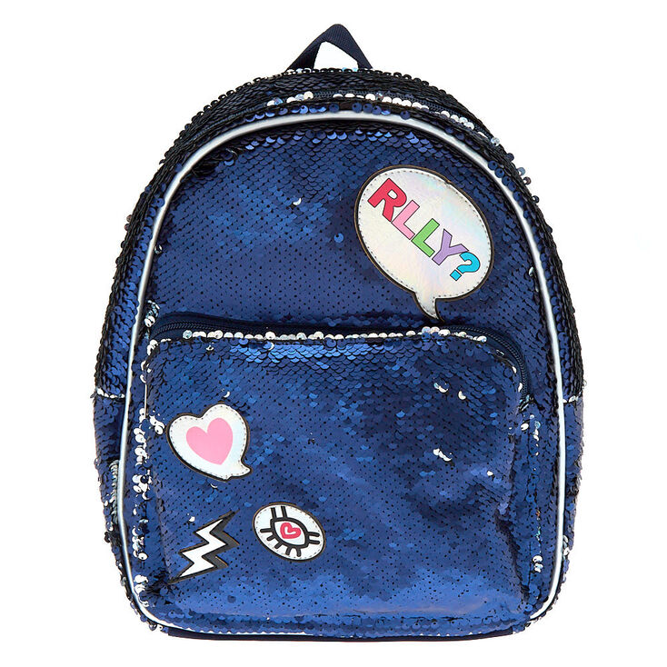 18c4a48f2ecd4 Reversible Sequin Patch Midi Backpack - Navy