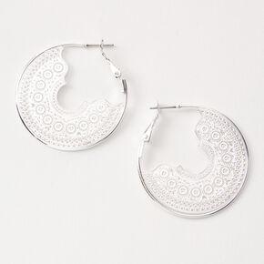 Silver 40MM Delicate Filigree Hoop Earrings,