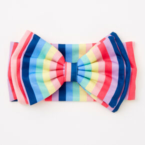 Claire's Club Rainbow Stripe Bow Headwrap,