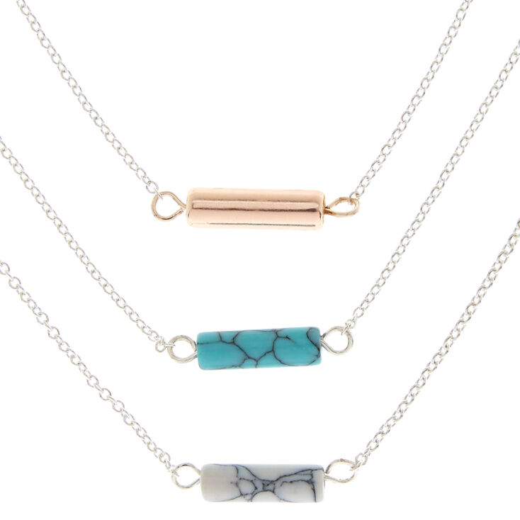 3 pack marble stone pendant necklaces claires 3 pack marble stone pendant necklaces aloadofball Choice Image