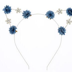 803416793f5 Silver Flower Girl Cat Ears Headband - Navy