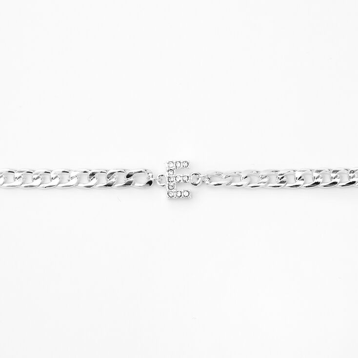 Silver Embellished Initial Chain Choker Necklace - E,