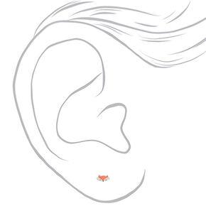 Silver Fox Stud Earrings - Coral,