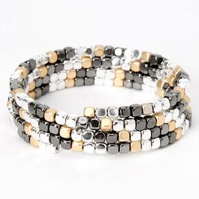 Bracelet double tour de poignet torsadé et perlé en métaux mixtes,