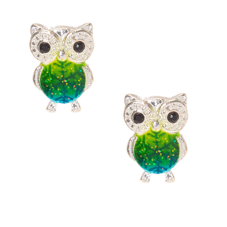 Green Snowflake Silver Owl Stud Earrings