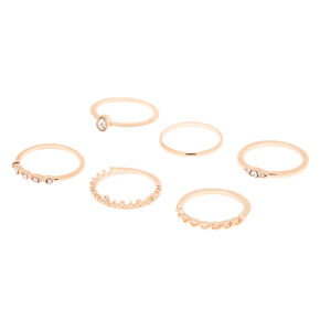 Rose Gold Royal Glam Rings - 6 Pack,