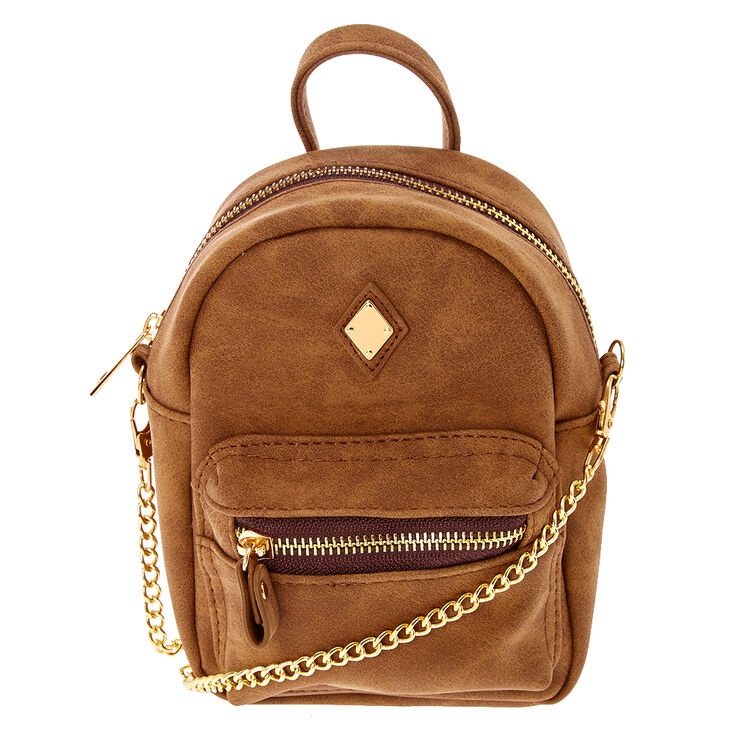 93181db679 Mini Faux Leather Cognac Crossbody Backpack | Claire's US