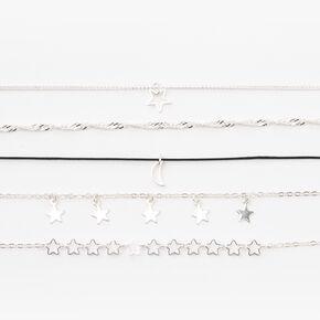 Silver Stars & Moon Chain Bracelets - 5 Pack,