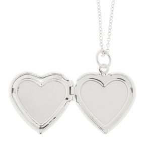 Glitter Heart Locket Necklace - Blue,
