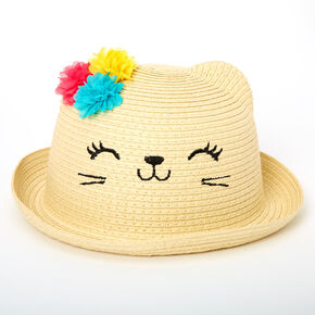 Claire's Club Floral Cat Straw Hat,